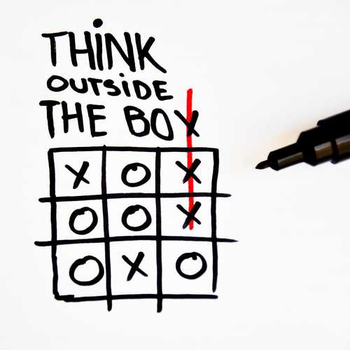 Think outside the box image with noughts and crosses