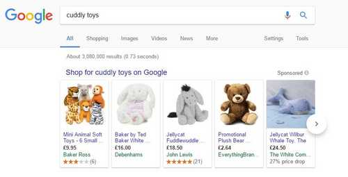Google Shopping Search Results